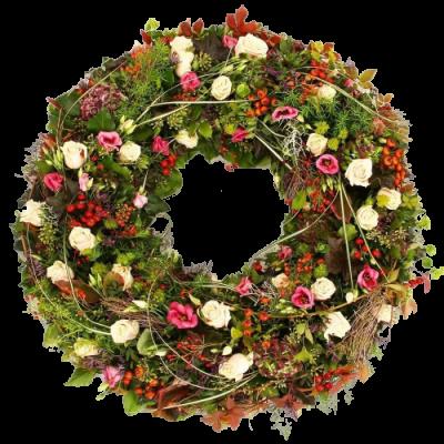 Европейский венок из живых цветов
