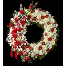 Венок европейский из живых цветов ВЕЖ-06
