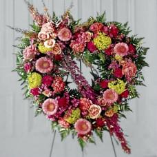 Венок в виде сердца из живых цветов ВСЖ-28