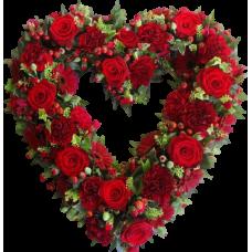 Венок в виде сердца из живых цветов ВСЖ-25