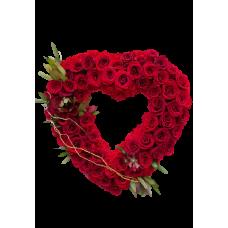 Венок в виде сердца из живых цветов ВСЖ-20