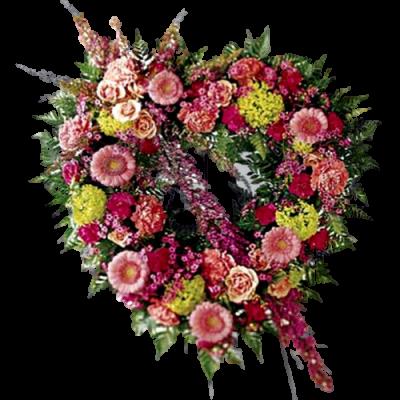 Венок в виде сердца из живых цветов ВСЖ28