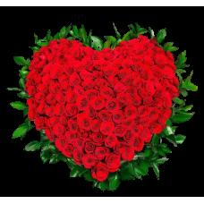 Венок в виде сердца из живых цветов ВСЖ-01