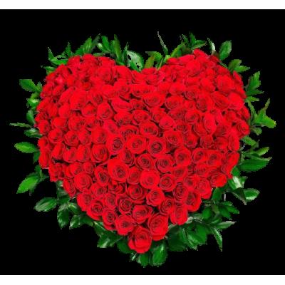 Венок в виде сердца из живых цветов ВСЖ 01