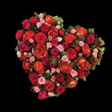 Венок в виде сердца из живых цветов ВСЖ-24