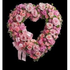 Венок в виде сердца из живых цветов ВСЖ-12