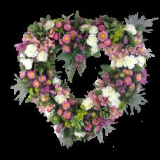 Венок в виде сердца из живых цветов ВСЖ-06