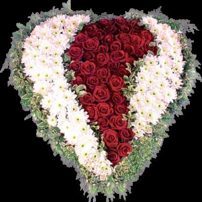 Венок в виде сердца из живых цветов ВСЖ 24