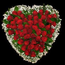 Венок в виде сердца из живых цветов ВСЖ-10