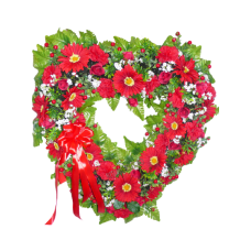 Венок из искусственных цветов в виде сердца ВСИ-11
