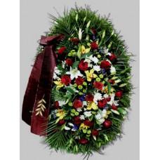 Ритуальный Венок из живых цветов ВЖ-09